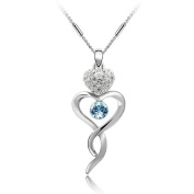 FLORAY Ladies Little Blue Crystal in Heart Pendant Necklace. Beautiful Gift for Women or Girls. Blue