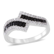 AAA Simulated Black Diamond , Simulated White Diamond Crossover Ring in Rhodium Plated Sterling Silver