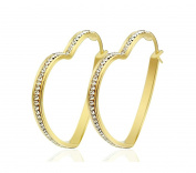 Jiedeng Jewellery Women Earring Set Hoop Earrings Stainless Steel Earring with Heart Cubic Zirconia CZ classic Hoop Earrings Set Anniversary Wedding Hoop Earrings for Women Ladies Gold