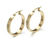 Jiedeng Jewellery Women Earring Set Hoop Earrings Stainless Steel Earring with Round Cubic Zirconia CZ classic Hoop Earrings Set Anniversary Wedding Hoop Earrings for Women Ladies Gold