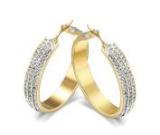 Jiedeng Jewellery Women Earring Set Hoop Earrings Stainless Steel Earring with Three Rows Cubic Zirconia CZ classic Hoop Earrings Set Anniversary Wedding Hoop Earrings for Women Ladies Gold