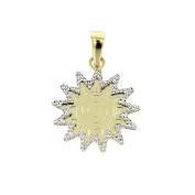 Gold Sun Pendant in 14 carat gold yellow and white gold pendant necklace jewellery 3782