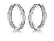 JOOLS by Jenny Brown® - 925 Sterling Silver Hoop Earrings - Set With The Finest White Cubic Zirconia Stones -4 Claw Set