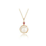 KnSam 18K Gold Necklace For Women Pearl Pendant with Ruby Rose Gold Chain Length:40+5CM [Fine Jewellery]