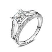 2018 Women Fashion White Zircon Wedding Engagement Solid White Fine Ring Beauty Top