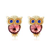 Owl Stud Earrings with Crystal Dark Red Bordeaux