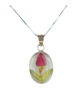 SHRIEKING VIOLET Sterling Silver Real Flowers Rose Pendant Necklace - WOMENS