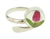 SHRIEKING VIOLET Sterling Silver Real Flowers Rose Adjustable Ring - WOMENS