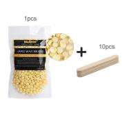 Hair Removal Hard Wax Beans 100g Hot Wax Waxing No Strips, Low Temperature Depilatory Wax Natural Hot Film + 10 Waxing Spatulas, For Face, Arm, Armpit, Bikini Part, Leg, Feet, All Body Parts