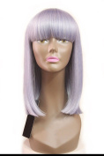 Chantiche Natural Straight Purple Wig Synthetic - Glueless Mix Colour Synthetic Wig with Bangs Shoulder Length Straight Wigs for Women 41cm