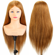 Neverland Beauty 60cm 100% Real Human Hair Shoulder Training Head Hairdressing Practise Mannequin DIY Manikin Head With Table Clamp Holder #27