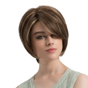 Sharplace Women Natural Short Bob Synthetic Full Hair Wig With Side Bang for Cosplay