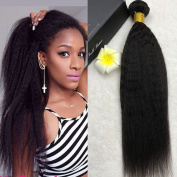 Full Shine 10inch/25cm Brazilian Virgin Hair Weave for Short Hair 1 Bundle 100g Natural Colour Kinky Straight Hair Weft 7A Unprocessed Human Hair Extensions