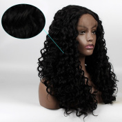 Life Diaries No Tangle Kanekalon Long Kinky Curly Wig High Density Heat Resistant Fibre Bleached Knot Glueless Large Part Space Lace Front Synthetic Wig For Girls And Women 60cm