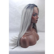 MZP Synthetic Lace Front Wigs Black Roots Silver Grey Hair Ombre Silky Straight Synthetic Wig , black/grey