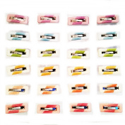 24 Hair Pins Clips Metal/Pasta Multicolor 3.5 x 1 cm) High Quality