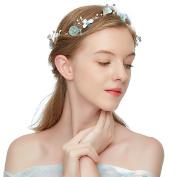 JasmineLi Fairytale Bride Headband Ornament - Elegant Pearls Rhinestone Leaves Flower Jewellery Bridal Wedding Decorations