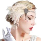 JasmineLi 1920s Flapper Gatsby Headpiece Elastic Head Band - Stylish Feather Rhinestone Tassels Hair accessories