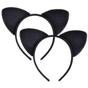 2 Pieces Cat Ears Headband Cat Hair Hoops Hair Accessories for Girl Women Costume Parties Decor, Black