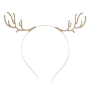 Women Girls Rhinestone Alloy Deer Horn Antler Headband Kid DIY Christmas Gift Party Headbands