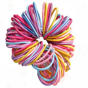 Vikenner 100 Pcs Baby Girl Children Elastic Hair Tie Bands Durable Small Thin Hair Elastic Ponytail Stretchy Hairband Ponytail Holders - Random Colour