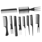 Sharplace 10 Pieces Anti-static Durable PP Barbershop Salon Hair Styling Cutting Combs Set Professional Barber Hairdressing Highlighting Hairbrush Tools Kit Black