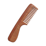 Pure Neem Wood Wide Tooth Comb with Handle for Healthy Scalp and Thick Hair | Wide Tooth Comb | Comb with Handle | Organic and Natural