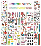 COKOHAPPY 20 pcs Colourful Watch , Heart , Cartoon etc , Over 200+ Kids or Women Look Real Flash Temporary Tattoo