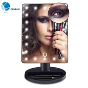 Cenblue 22 LED Lighted Makeup Mirror / Vanity Mirror with Touch Screen Dimming, Detachable 10X Magnification Spot High Definition Clarity Mirror, Portable Convenience Cosmetic Mirror