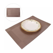 Heat Insulation PVC Placemats HuaForCity Washable Stain-resistant Woven Vinyl Table Mat Coaster for Kitchen Dining Room Hotel Cafe 45x30cm Champagne