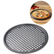 Non-Stick Pizza Crisper Tray, Carbon Steel Nonstick Pizza Baking Pan Tray 32cm Pizza Plate Dishes Holder Bakeware Home Kitchen Baking Tools Accessories