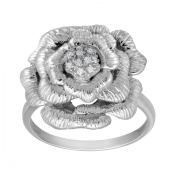 Flower Ring with Diamonds in Sterling Silver