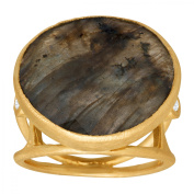 Piara 9 3/4 ct Natural Labradorite Ring with Diamonds in 18kt Gold-Plated Sterling Silver