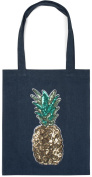 styleBREAKER shopping bag with sequin pineapple applique, tote bag, canvas, fabric bag. Bag, unisex 02012215, colour:Dark Blue
