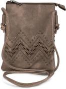styleBREAKER mini bag shoulder bag with zigzag cutout pattern and studs, shoulder bag, bag, ladies 02012211, colour:Taupe