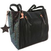 "Designer bag 'Lollipops'black glitter (2 compartments)- 35x30x16.5 cm (13.78""x11.81""x6.50"")."
