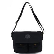 AllRight Men's Vintage Canvas Messenger Bag Leather Military Handbag Cross body Shoulder Bag Black