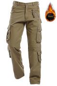 AIZESI Men's Polar Fleece Trousers Thicken Winter Lined Warm Pants Cargo Camo Combat Worm Pants