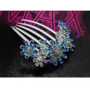 Ecloud Shop® Shiny Romantic Flower Crystal Girl Comb Bridal Wedding Hair Clip Blue