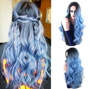 Royalvirgin Nature Colour Dark Root Ombre Pastel Blue Heat Resistant Fibre Hair Long Nature Wave Light Blue Synthetic Full Wigs