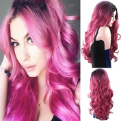 Royalvirgin Black And Pink Ombre Long Body Wave Heat Resistant Synthetic Middle Parting Cosplay Wigs For Women With Free Wig Cap