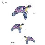 WYUEN 5 Sheets Turtle Kids Body Art Whale Tattoo Sticker For Men Women Fake Waterproof Temporary Tattoo New Designs 9.8X6cm A-175