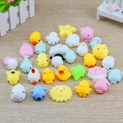 16PCS Squishy Squeeze Healing Toy Seal Cat Paw Bear Kawaii Collection Stress Reliever Gift Decor
