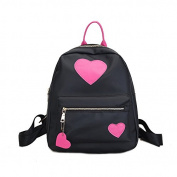 Espeedy Girls Travel Backpack Nylon Waterproof Love Heart Zipper Girls Studend School Shoulder Bag