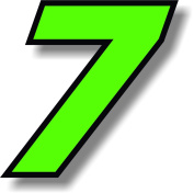 Vinyl sticker/decal x 2 Green (Black outline), square font, race number 7 (Height