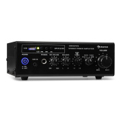 auna Amp2 BT Mini Stereo Amplifier • Bluetooth • Distortion-Free • USB • SD/MMC Memory Cards • HiFi Headphones Connexion • 2-Band Equaliser • Up to 3 HiFi Devices can be Connected Simultaneously • Remote Control • Black
