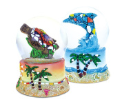 Tropical Decor Sea Turtle and Dolphin Mosaic Snowglobes