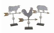 Rustic Galvanised Metal Farm Animal 3 Piece Weather Vane Sculpture Set