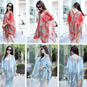 Fashion Summer Style Flower Pattern Print Fold Chiffon Scarf Beach Cover Up Towels Ladies Scarves Shawls Hot