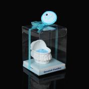 1 Pc Baby Blue Bassinet Crib Cradle Baby Shower Votive Candle Favours 6cm